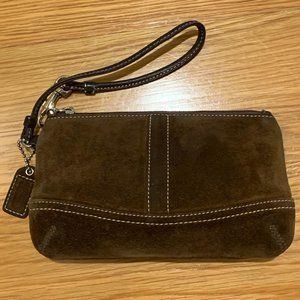 Coach Chocolate Brown Suede Wristlet